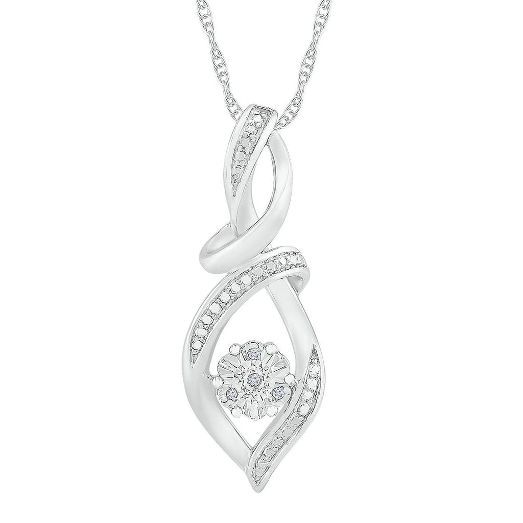 Sterling Silver Diamond Set Swirl Necklace