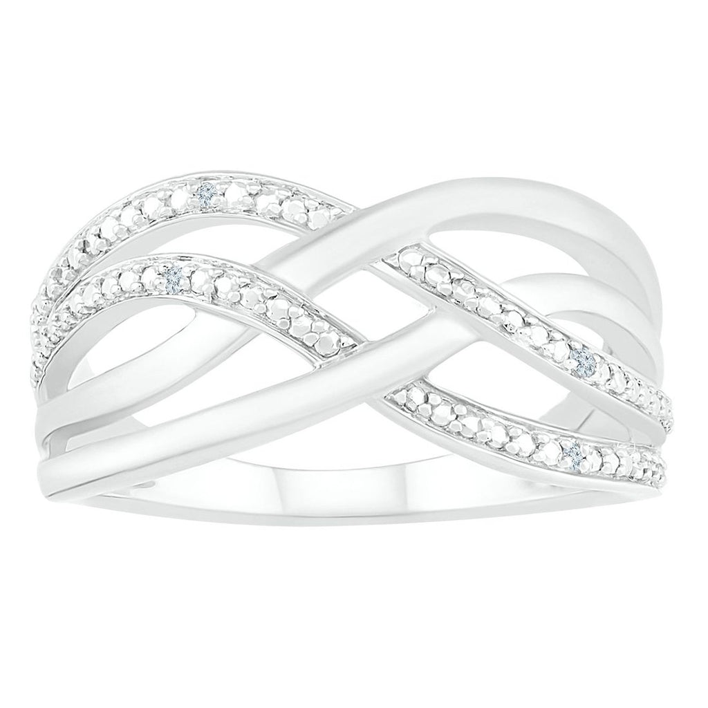 Sterling Silver Diamond Set Multi Row Crossover Ring