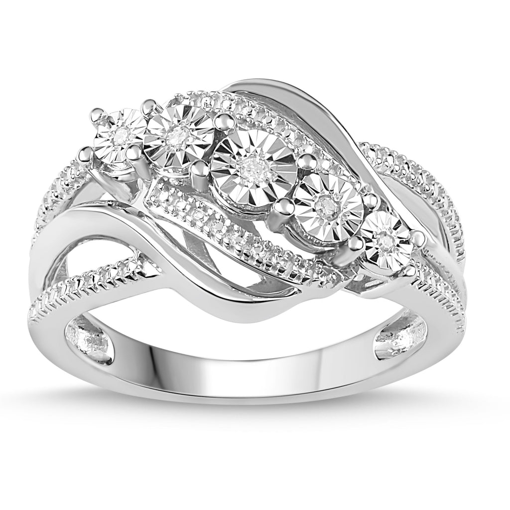 Sterling Silver Diamond Set Brilliant Illusion Ring Rings Bevilles Jewellers