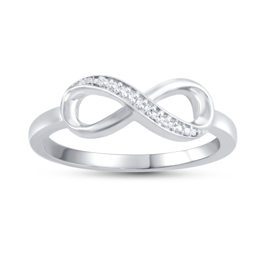 Sterling Silver Diamond Infinity Stackable Ring Rings Bevilles Jewellers