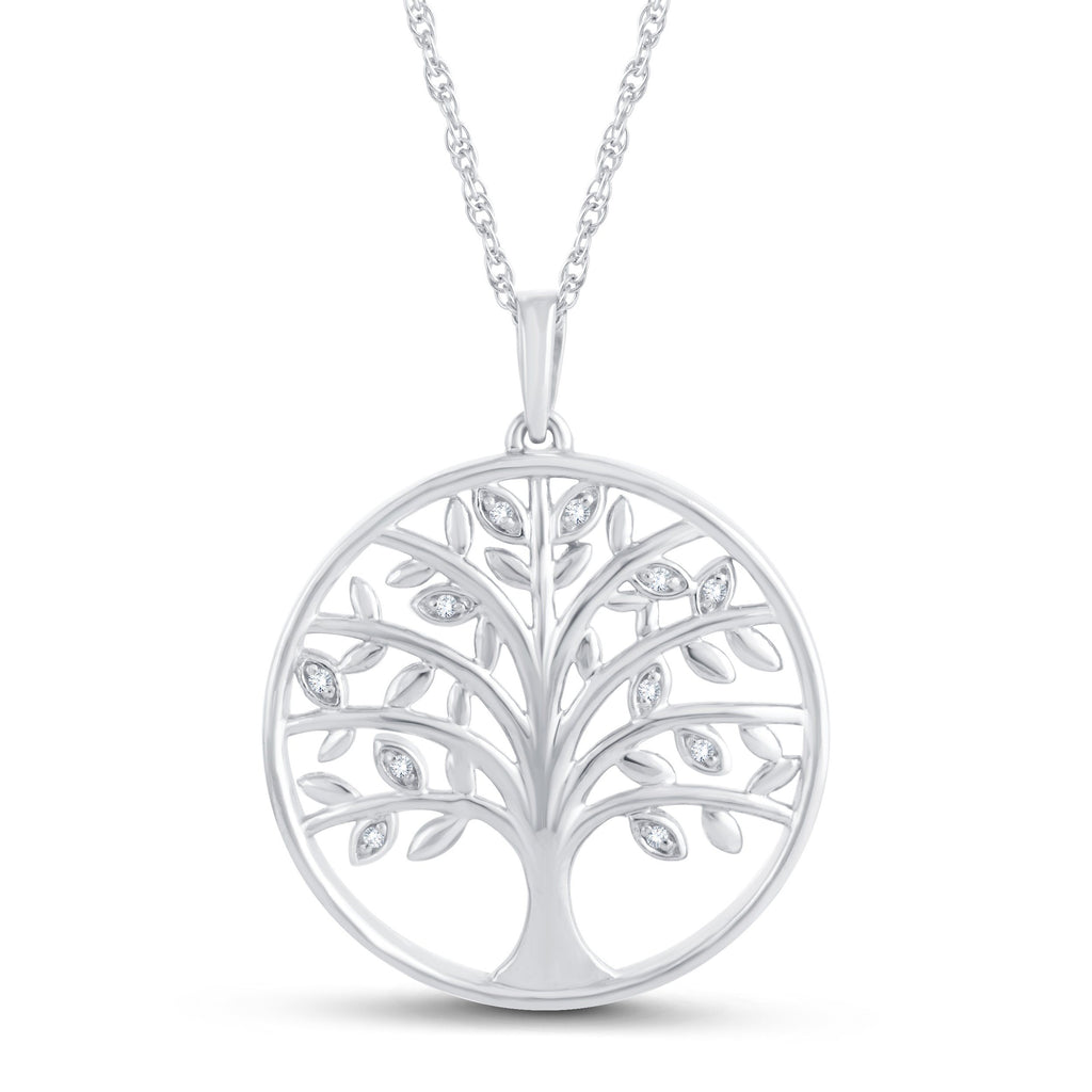Sterling Silver Diamond Tree of Life Necklace Necklaces Bevilles