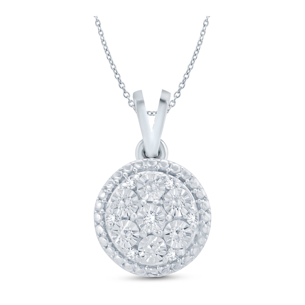 Diamond Halo Necklace in Sterling Silver