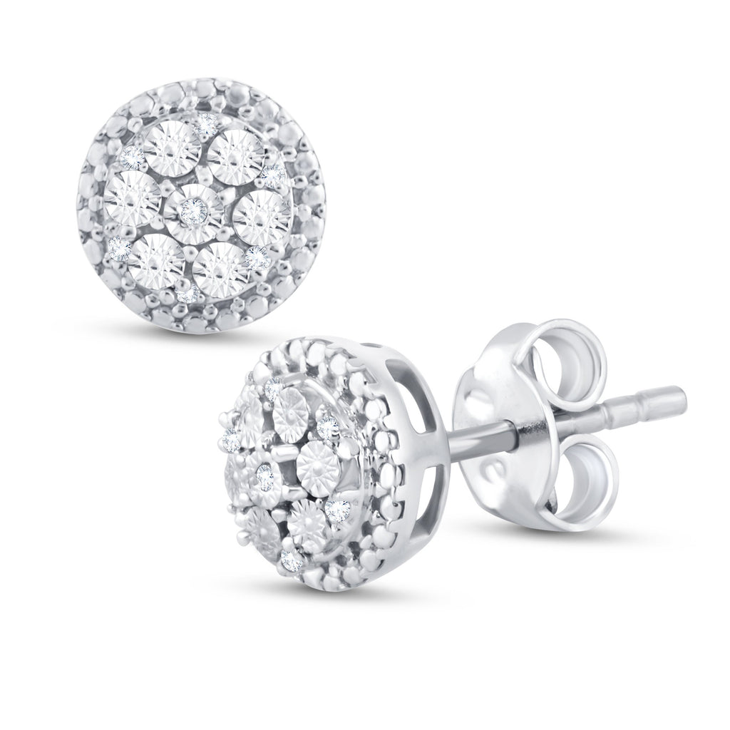 Sterling Silver Diamond Halo Stud Earrings