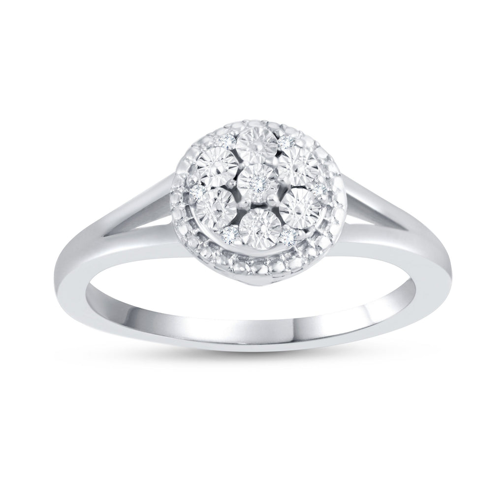 Sterling Silver Diamond Brilliant Illusion Solitaire Look Ring