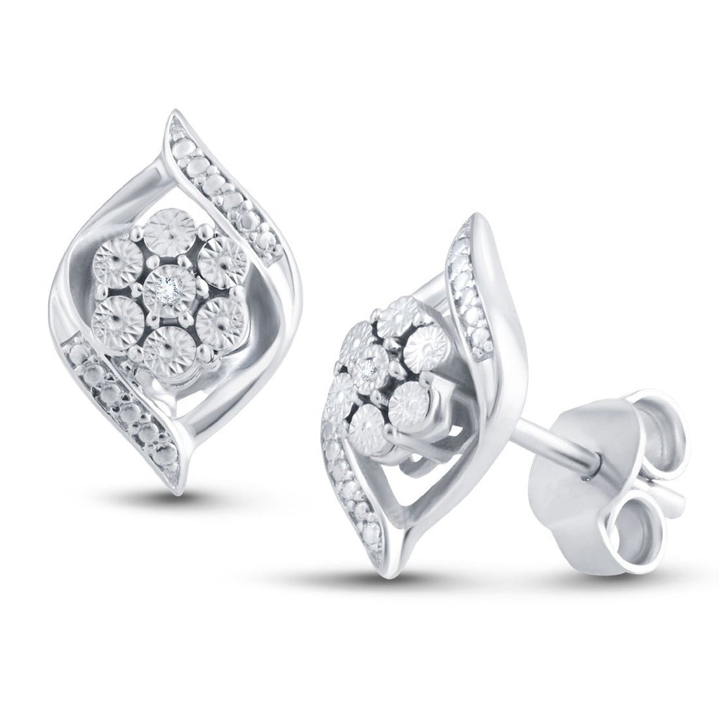 Brilliant Illusion Flame Design Diamond Earrings in Sterling Silver Earrings Bevilles