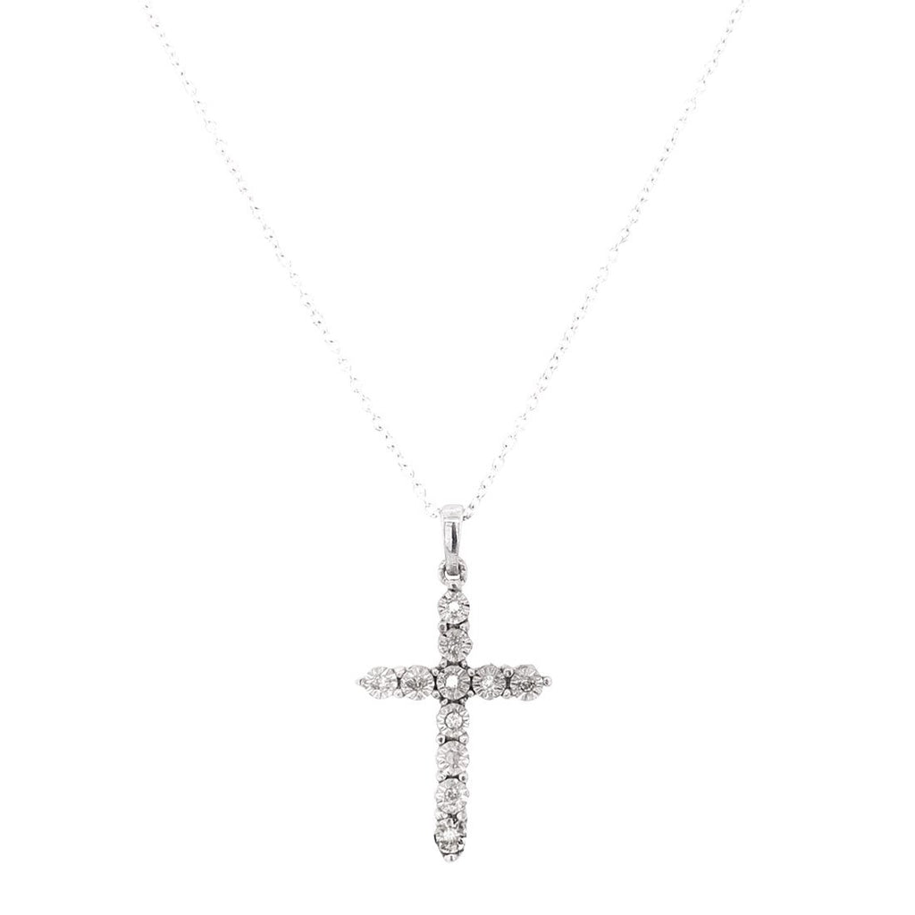 Sterling Silver Brilliant Miracle Diamond Set Cross Necklace Necklaces Bevilles