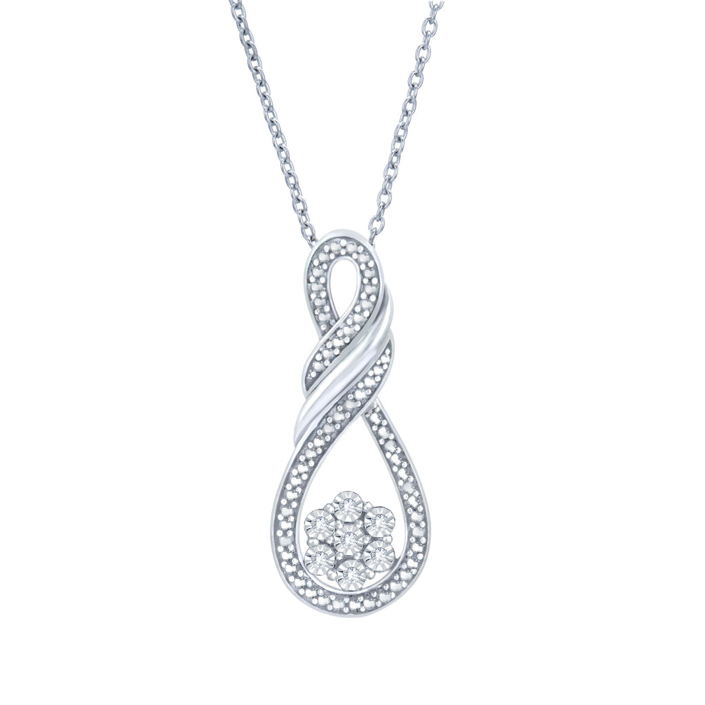 Diamond Flower Swirl Necklace in Sterling Silver Necklaces Bevilles