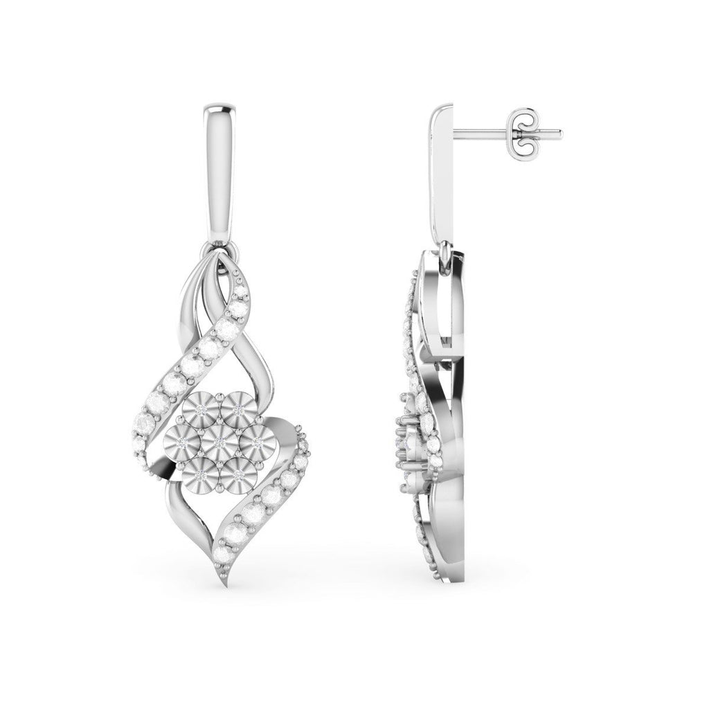 Diamond Set Flower Flame Drop Earrings in Sterling Silver Earrings Bevilles