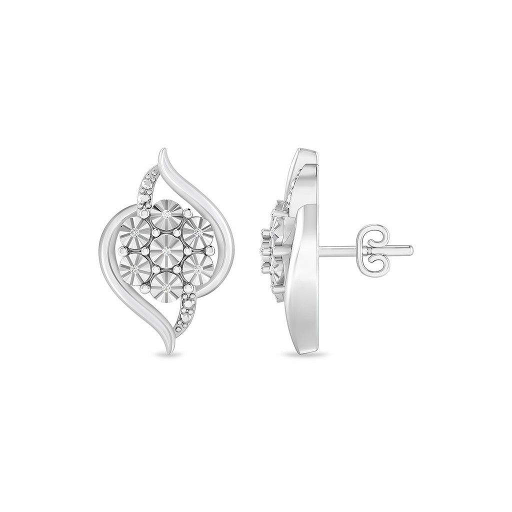 Diamond Set Flower Flame Stud Earrings in Sterling Silver Earrings Bevilles