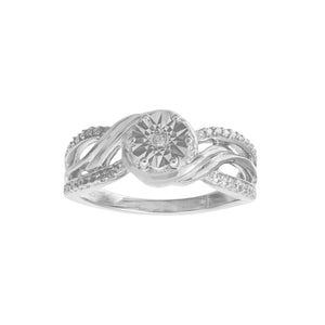 Diamond Set Multi Wrap Swirl Ring in Sterling Silver