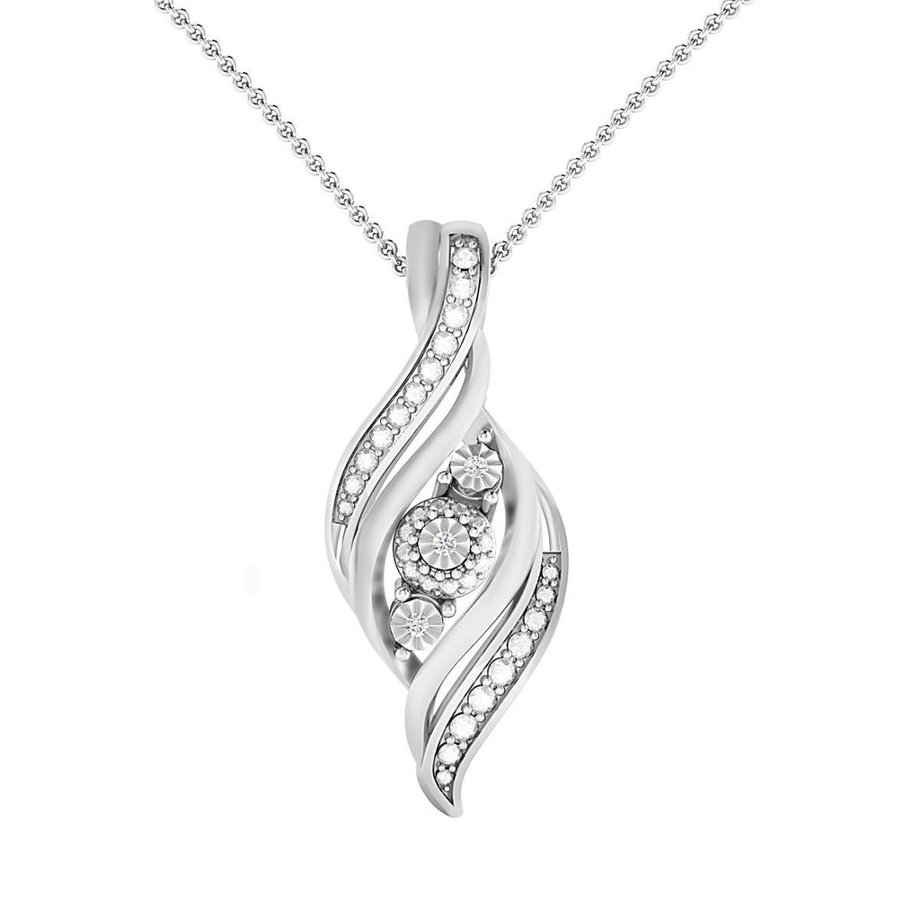 Diamond Set 3 Swirl Flame Necklace in Sterling Silver Necklaces Bevilles
