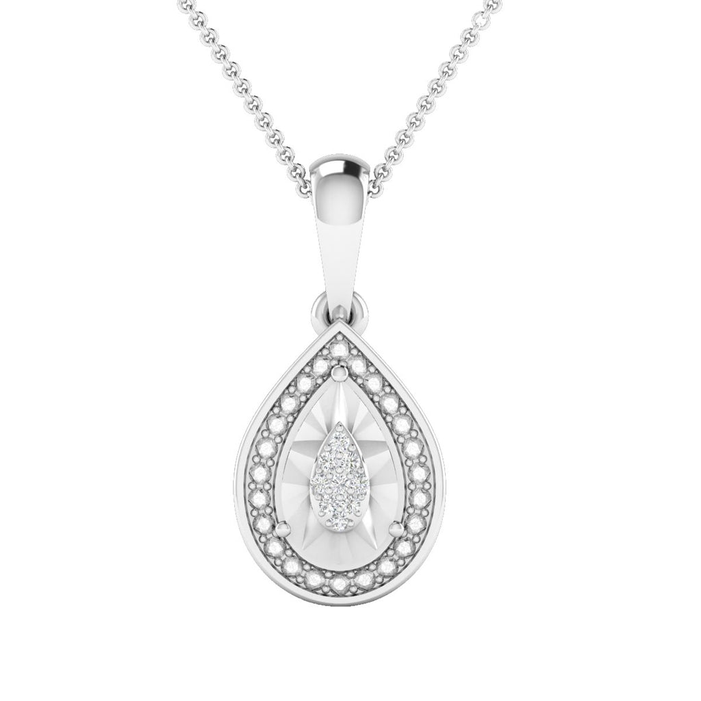 Diamond Set Surround Necklace in Sterling Silver Necklaces Bevilles
