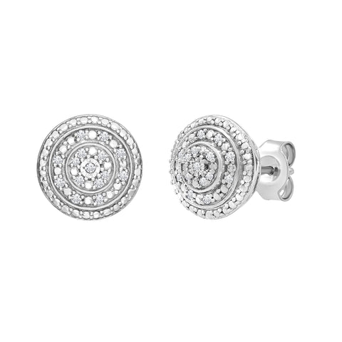 Diamond Halo Stud Earrings in Sterling Silver
