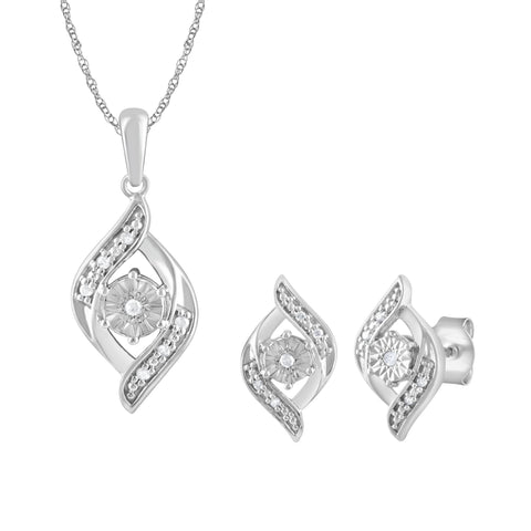 Flame Shape Stud Earrings and Necklace Set with 0.05ct of Diamonds in Sterling Silver