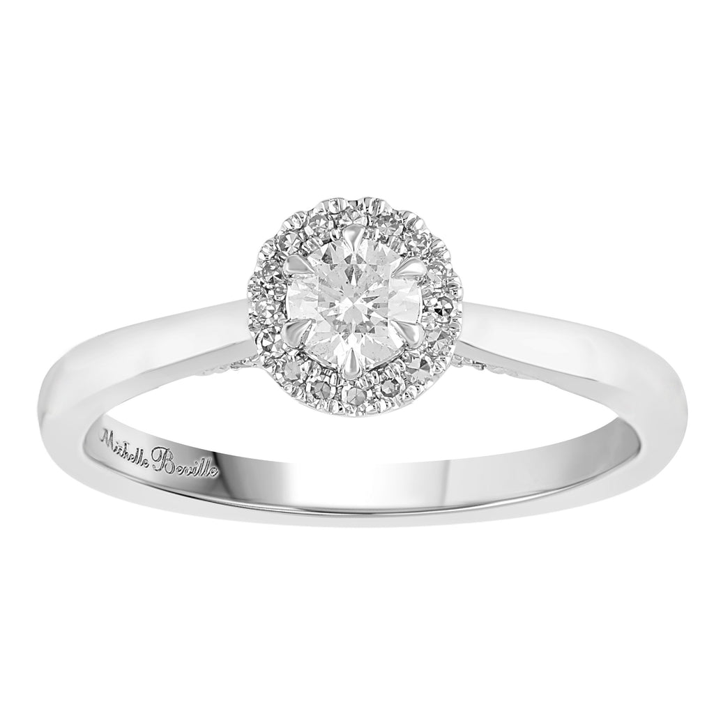 Love by Michelle Beville Halo Solitaire Ring with 0.45ct of Diamonds in 18ct White Gold Rings Bevilles