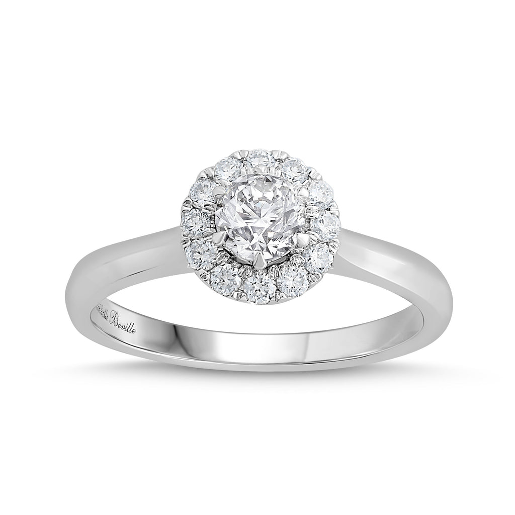 Love by Michelle Beville Halo Solitaire Ring with 0.65ct of Diamonds in 18ct White Gold Rings Bevilles
