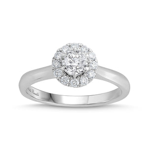 Love by Michelle Beville Halo Solitaire Ring with 0.65ct of Diamonds in 18ct White Gold