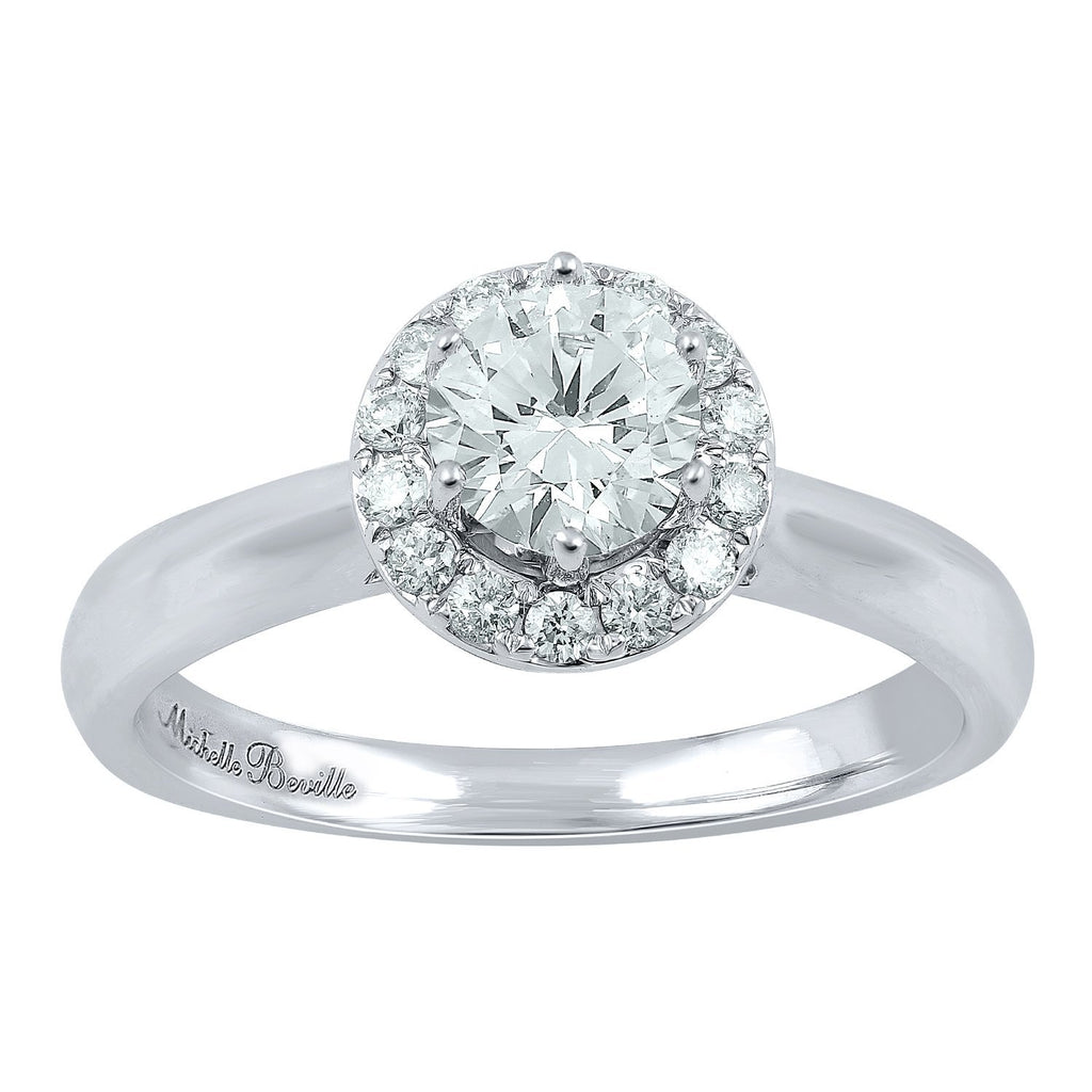 Love by Michelle Beville Halo Solitaire Ring with 0.80ct of Diamonds in 18ct White Gold Rings Bevilles