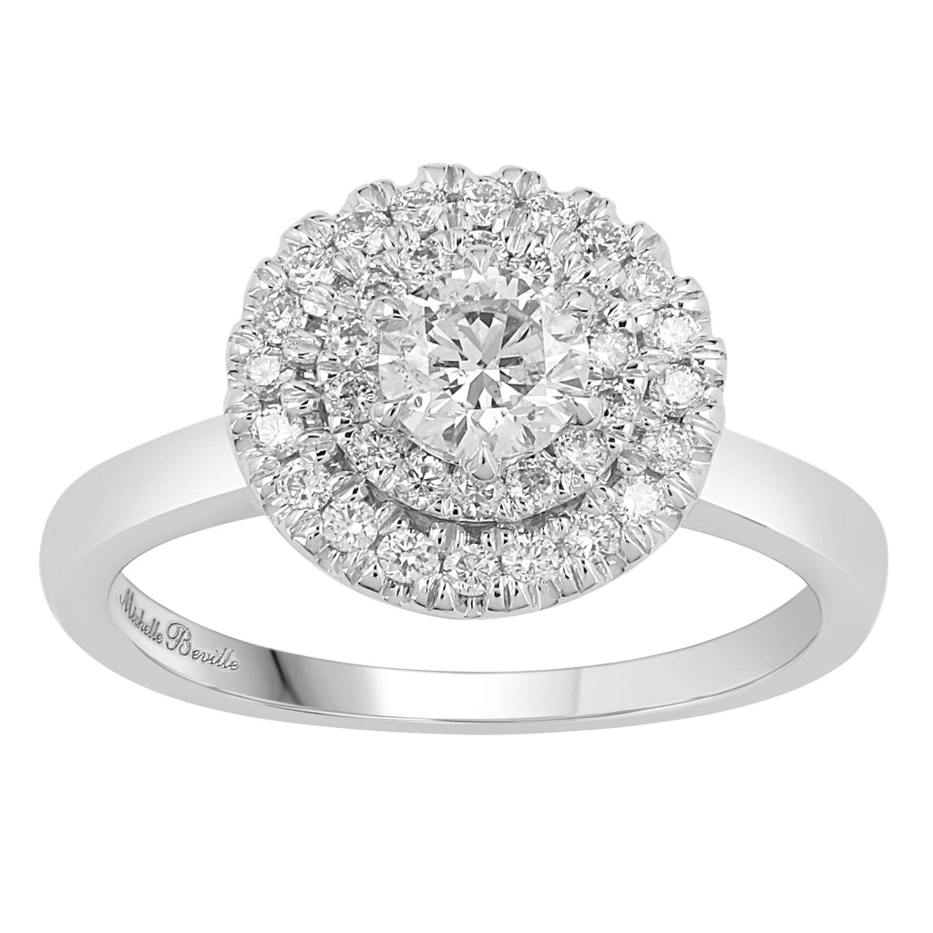 Love by Michelle Beville Double Halo Solitaire Ring with 0.80ct of Diamonds in 18ct White Gold
