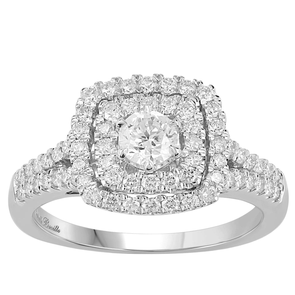 Love by Michelle Beville Halo Solitaire Ring with 1.00ct of Diamonds in 18ct White Gold
