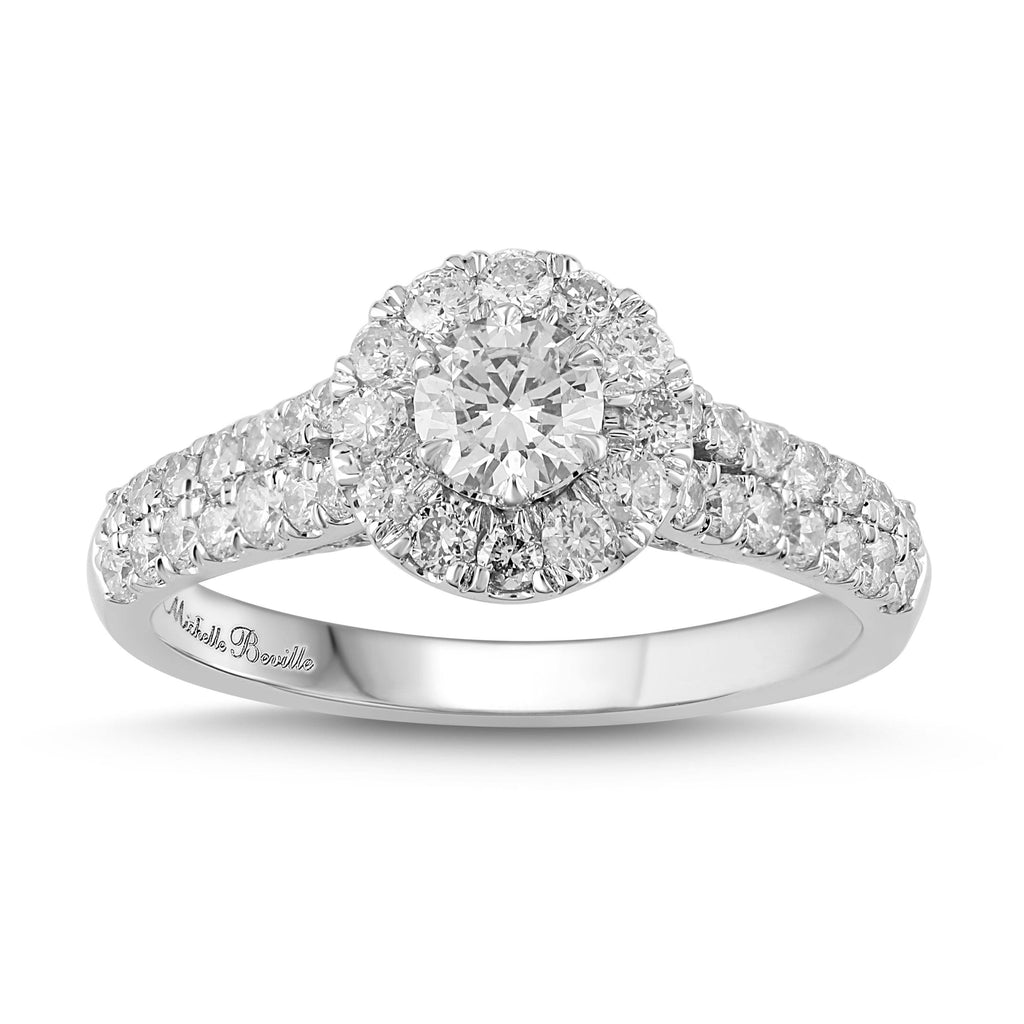 Love by Michelle Beville Halo Solitaire Ring with 1.00ct of Diamonds in 18ct White Gold Rings Bevilles