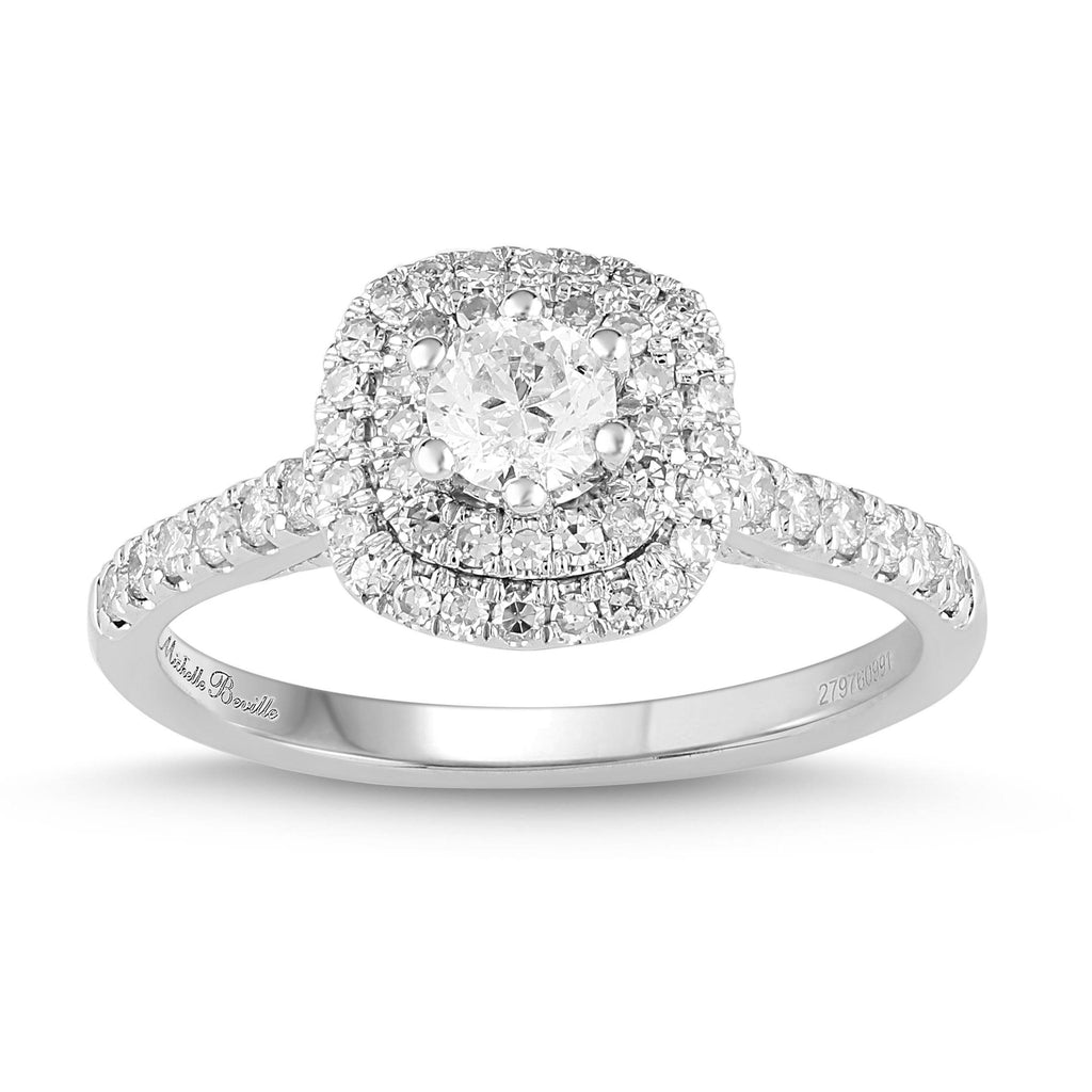 Love by Michelle Beville Halo Solitaire Ring with 0.70ct of Diamonds in 18ct White Gold Rings Bevilles