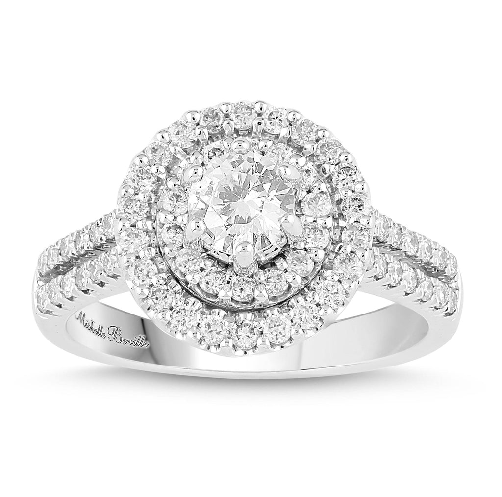 Love by Michelle Halo Solitaire Ring with 1.25ct of Diamonds in 18ct White Gold Rings Bevilles
