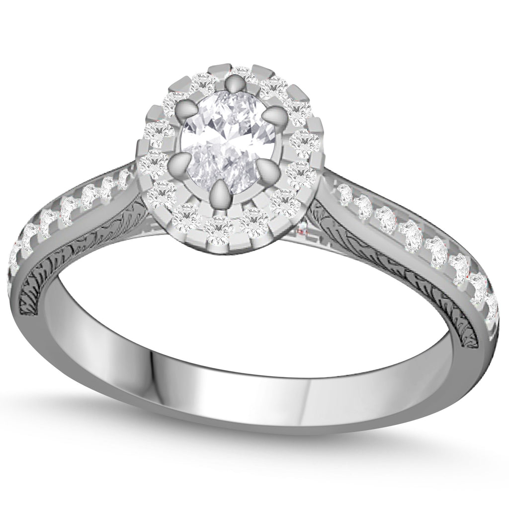 Love by Michelle Oval Solitaire Ring with 0.70ct of Diamonds in 18ct White Gold Rings Bevilles Jewellers
