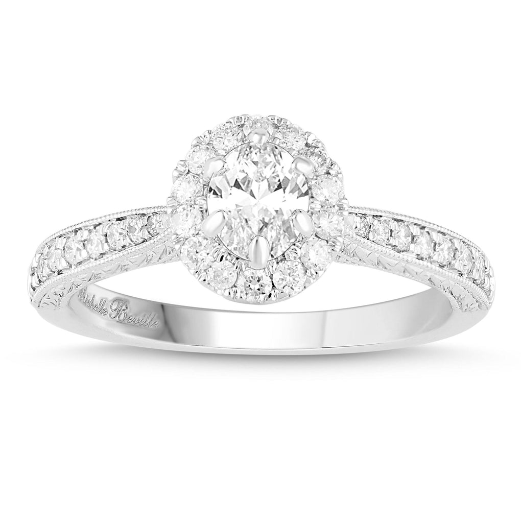 Love by Michelle Beville Halo Solitaire Antique Ring with 0.70ct of Diamonds in 18ct White Gold Rings Bevilles Jewellers