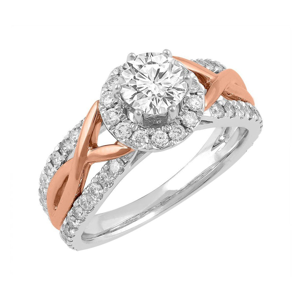 Love by Michelle Beville Halo Solitaire Ring with 1.05ct of Diamonds in 18ct Rose & White Gold