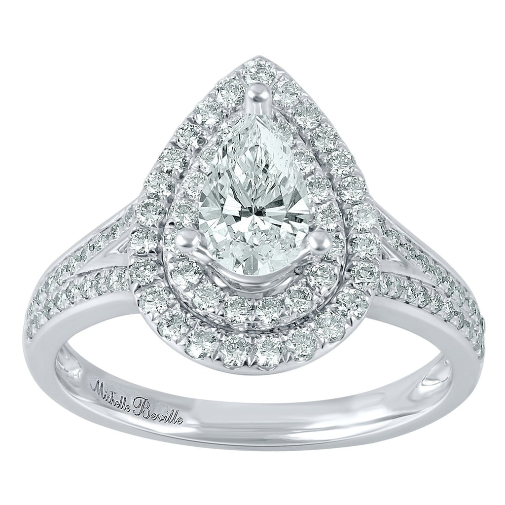 Love by Michelle Beville Double Halo Solitaire Pear Ring with 1.00ct of Diamonds in 18ct White Gold