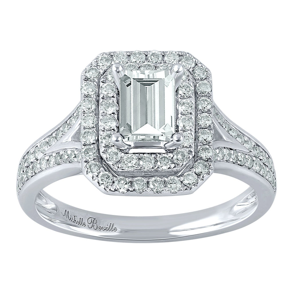 Love by Michelle Beville Emerald Double Halo Solitaire Ring with 1.00ct of Diamonds in 18ct White Gold Rings Bevilles