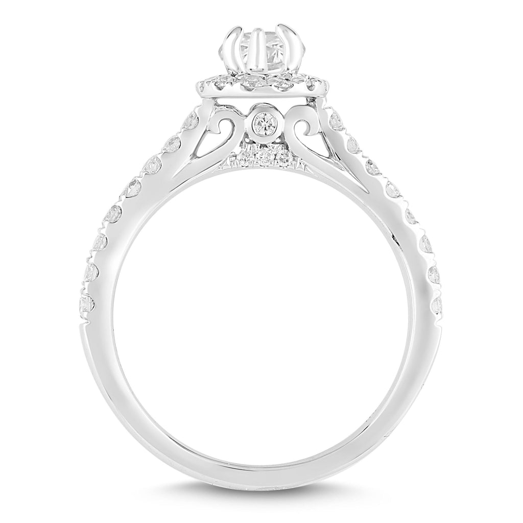 Love by Michelle Beville Halo Solitaire Pear Ring with 0.85ct of Diamonds in 18ct White Gold Rings Bevilles