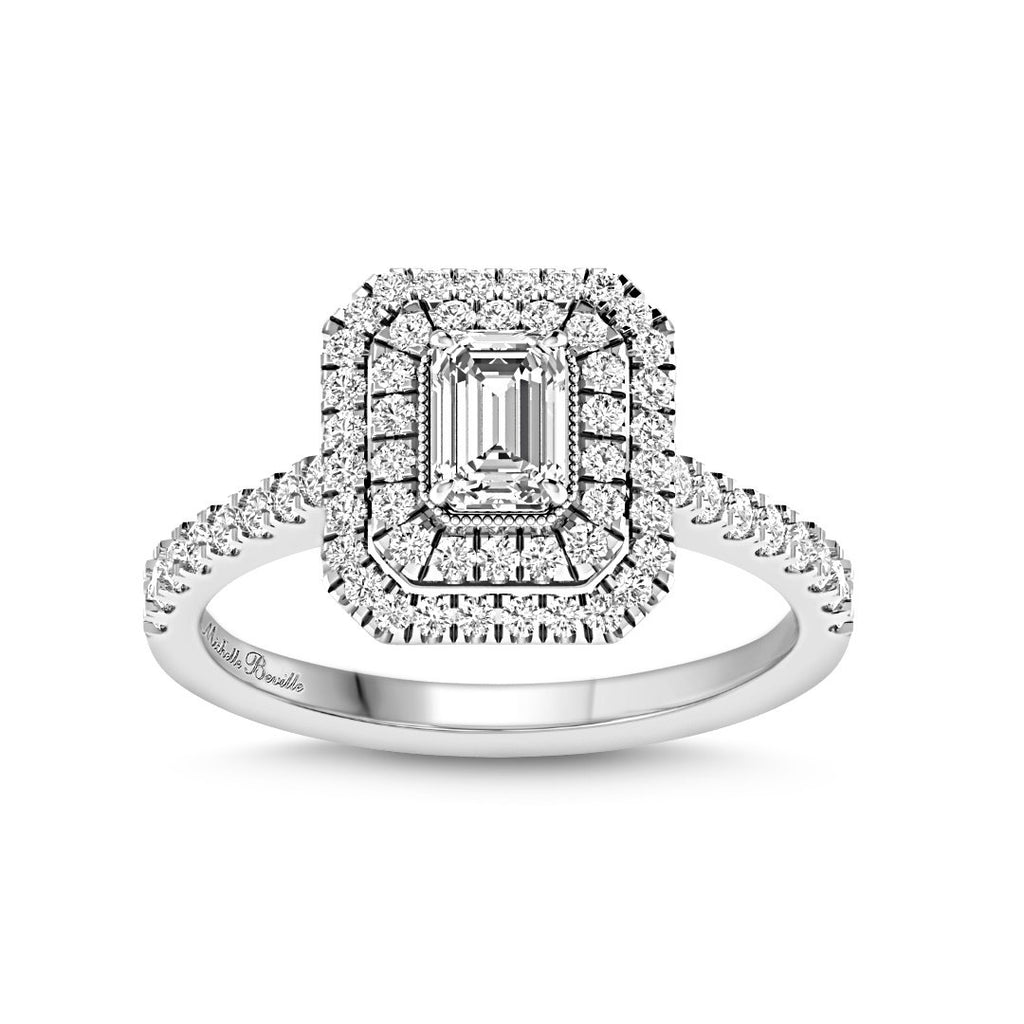 Love By Michelle Beville Double Halo Ring with 1.00ct of Diamonds in 18ct White Gold Rings Bevilles