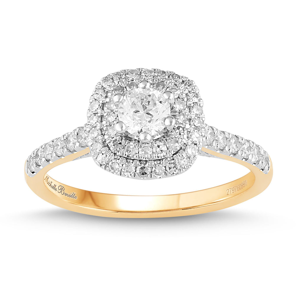 Love by Michelle Beville Double Halo Solitaire Ring with 0.70ct of Diamonds in 18ct Yellow Gold Rings Bevilles