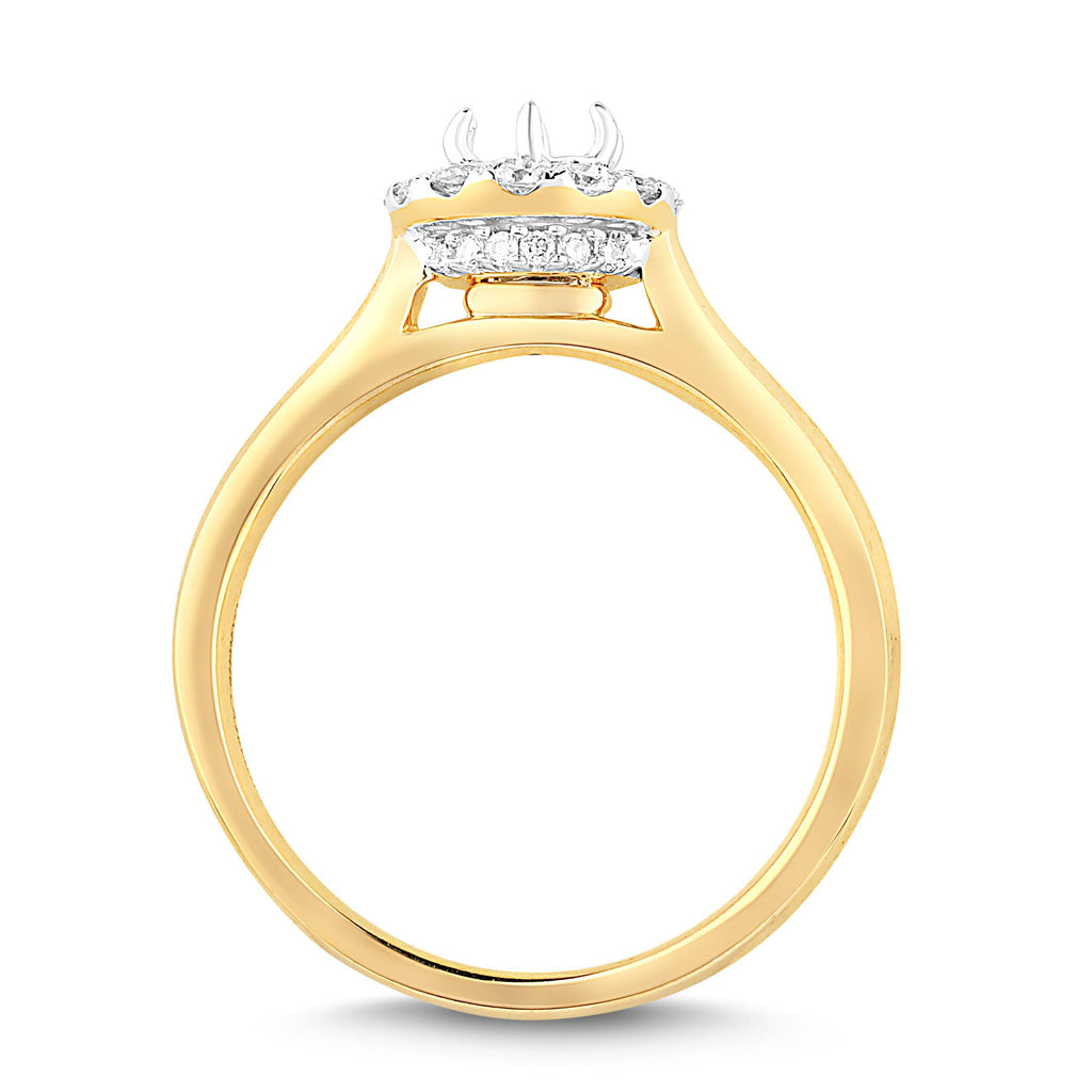 Love by Michelle Beville Halo Solitaire Ring with 0.55ct of Diamonds in 18ct Yellow Gold Rings Bevilles