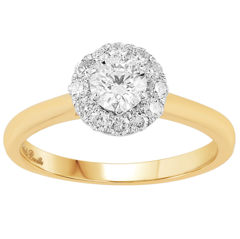 Love by Michelle Beville Halo Solitaire Ring with 0.55ct of Diamonds in 18ct Yellow Gold