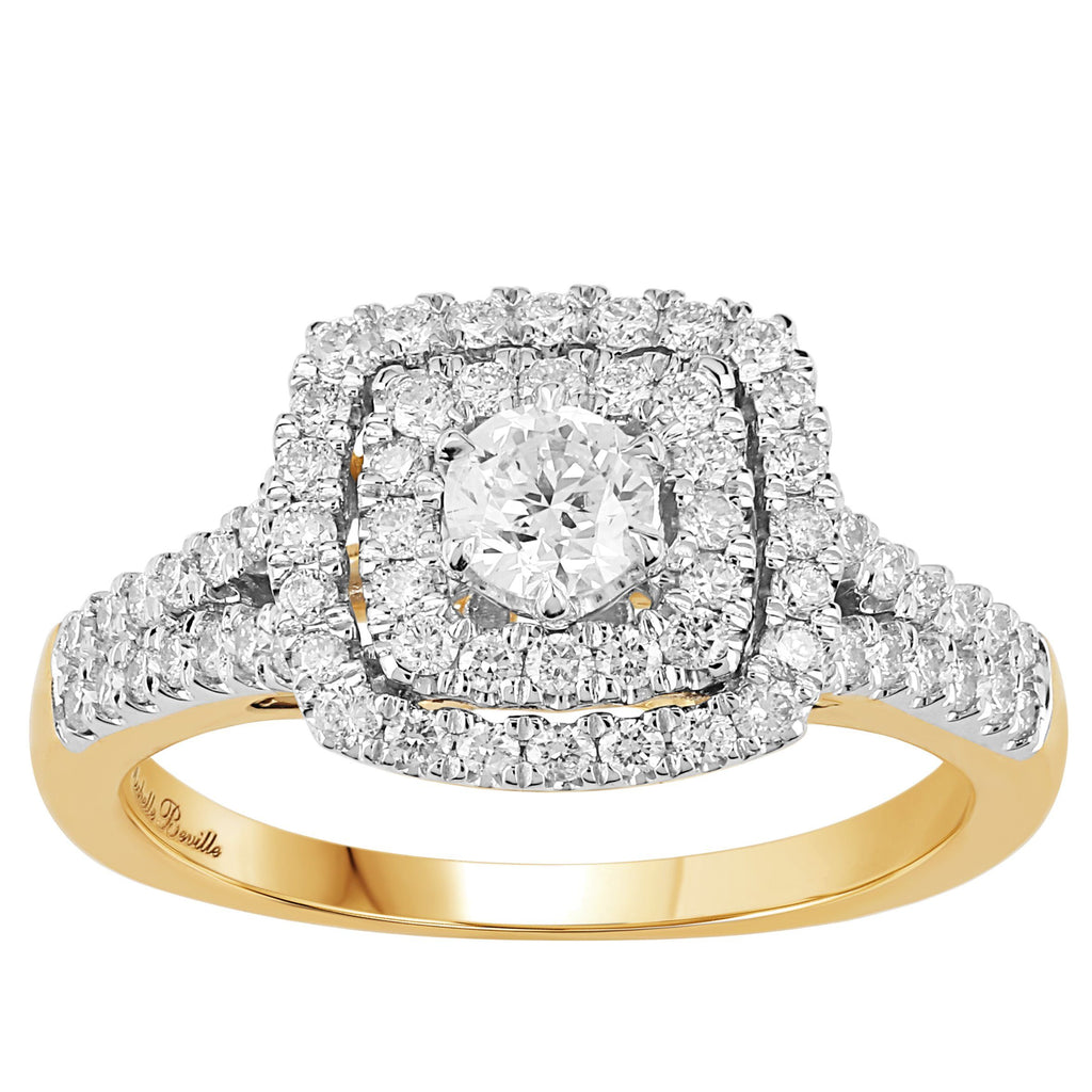 Love by Michelle Beville Halo Solitaire Square Ring with 1.00ct of Diamonds in 18ct Yellow Gold Rings Bevilles