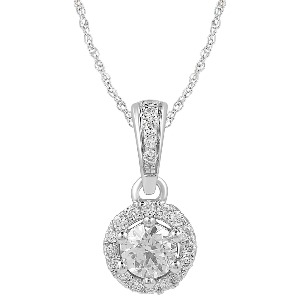 Love by Michelle Beville Halo Solitaire Necklace with 0.40ct of Diamonds in 18ct White Gold