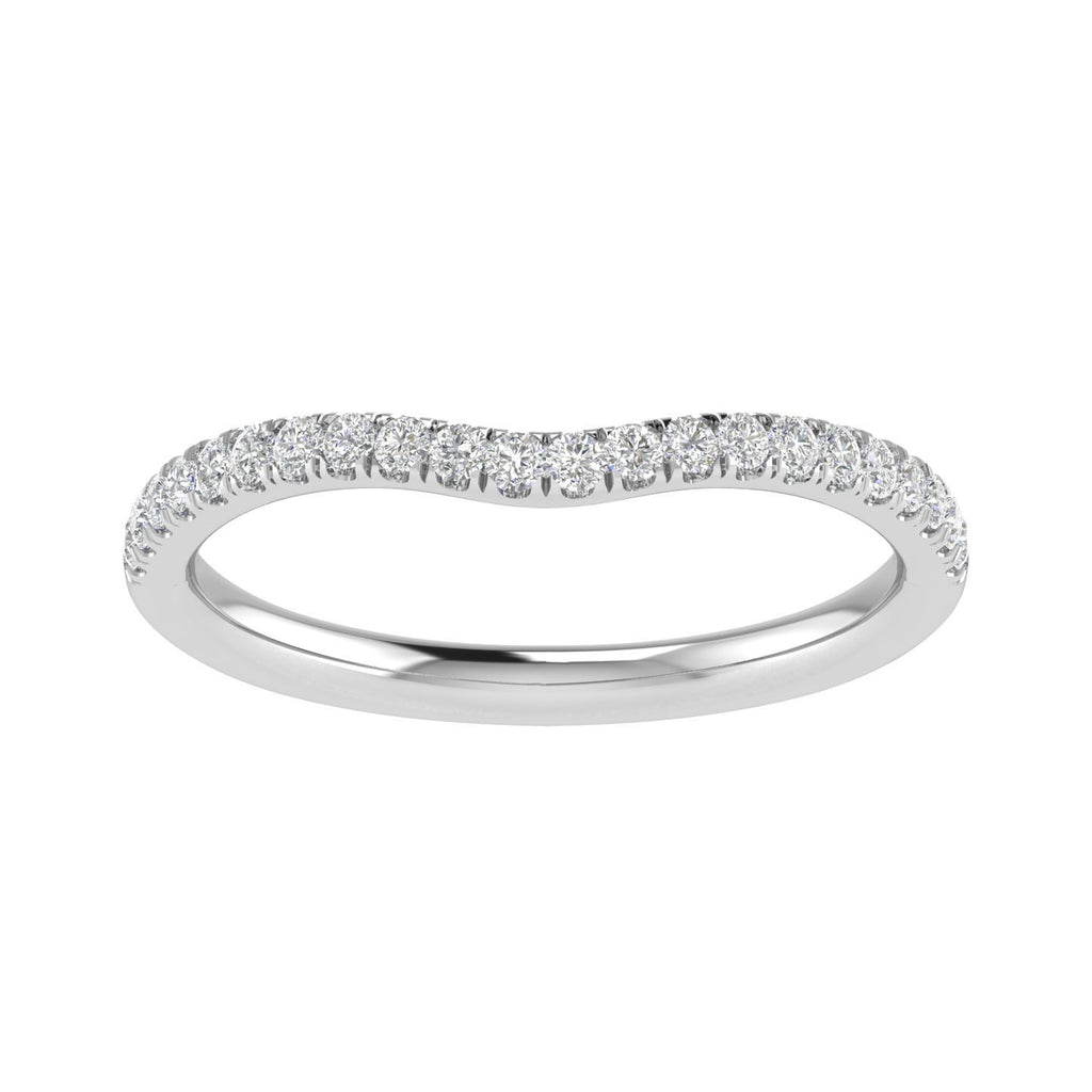 Love by Michelle Brilliant Curved Ring with 0.15ct of Diamonds in 18ct White Gold Rings Bevilles