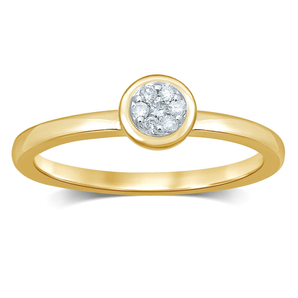 Meera Bezel Flower Ring with 0.10ct of Laboratory Grown Diamonds in 9ct Yellow Gold Rings Bevilles