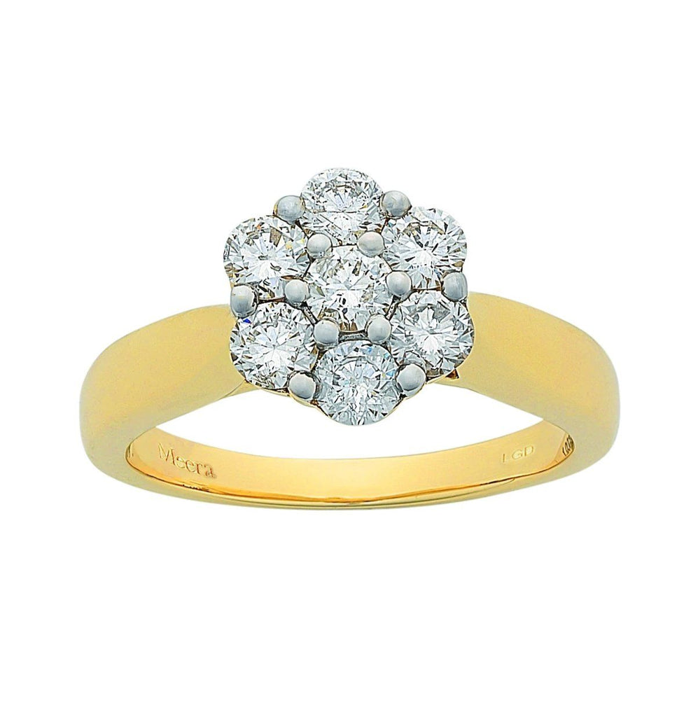 Meera Flower Ring with 1.00ct of Laboratory Grown Diamonds in 9ct Yellow Gold Rings Bevilles