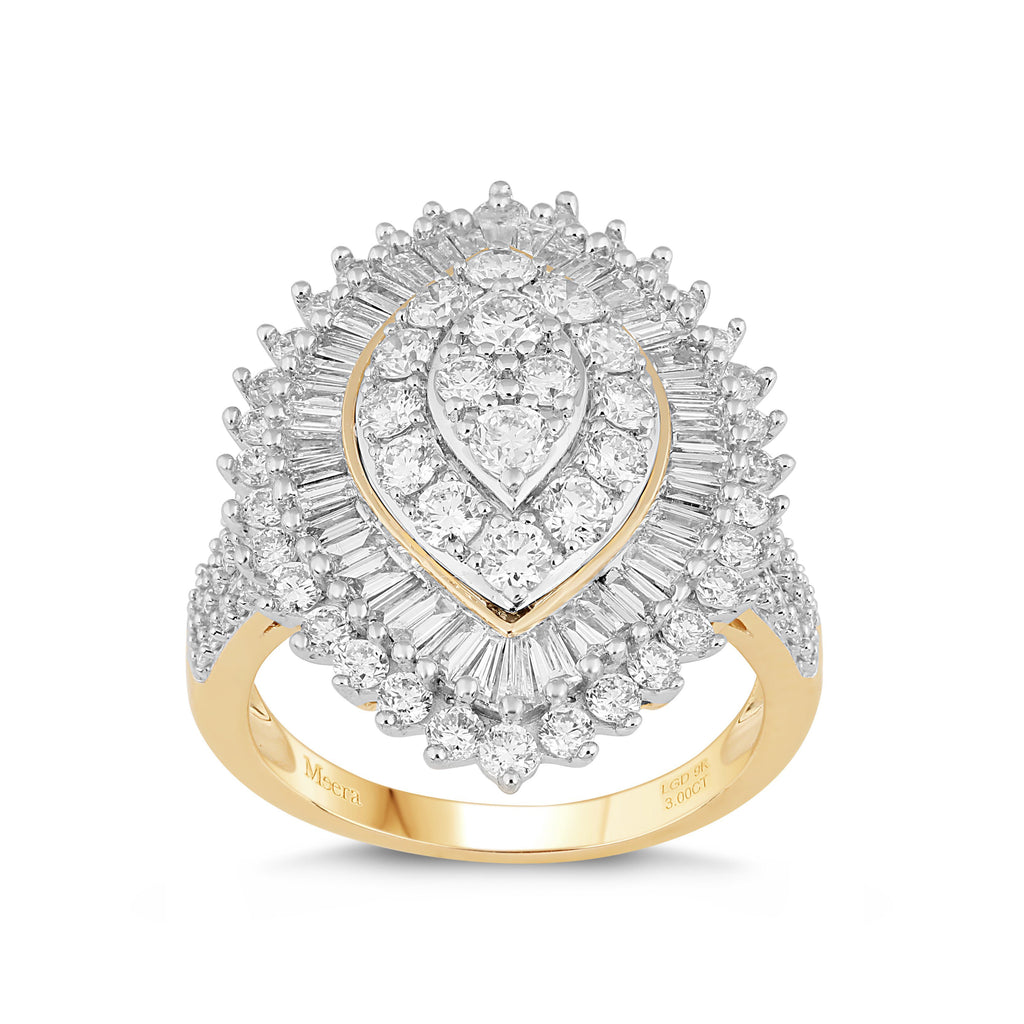 Meera Marquise Shape Ring with 3.00ct of Laboratory Grown Diamonds in 9ct Yellow Gold Rings Bevilles