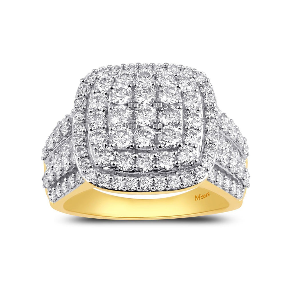 Meera Halo Composite Square Ring with 3.00ct of Laboratory Grown Diamonds in 9ct Yellow Gold Rings Bevilles