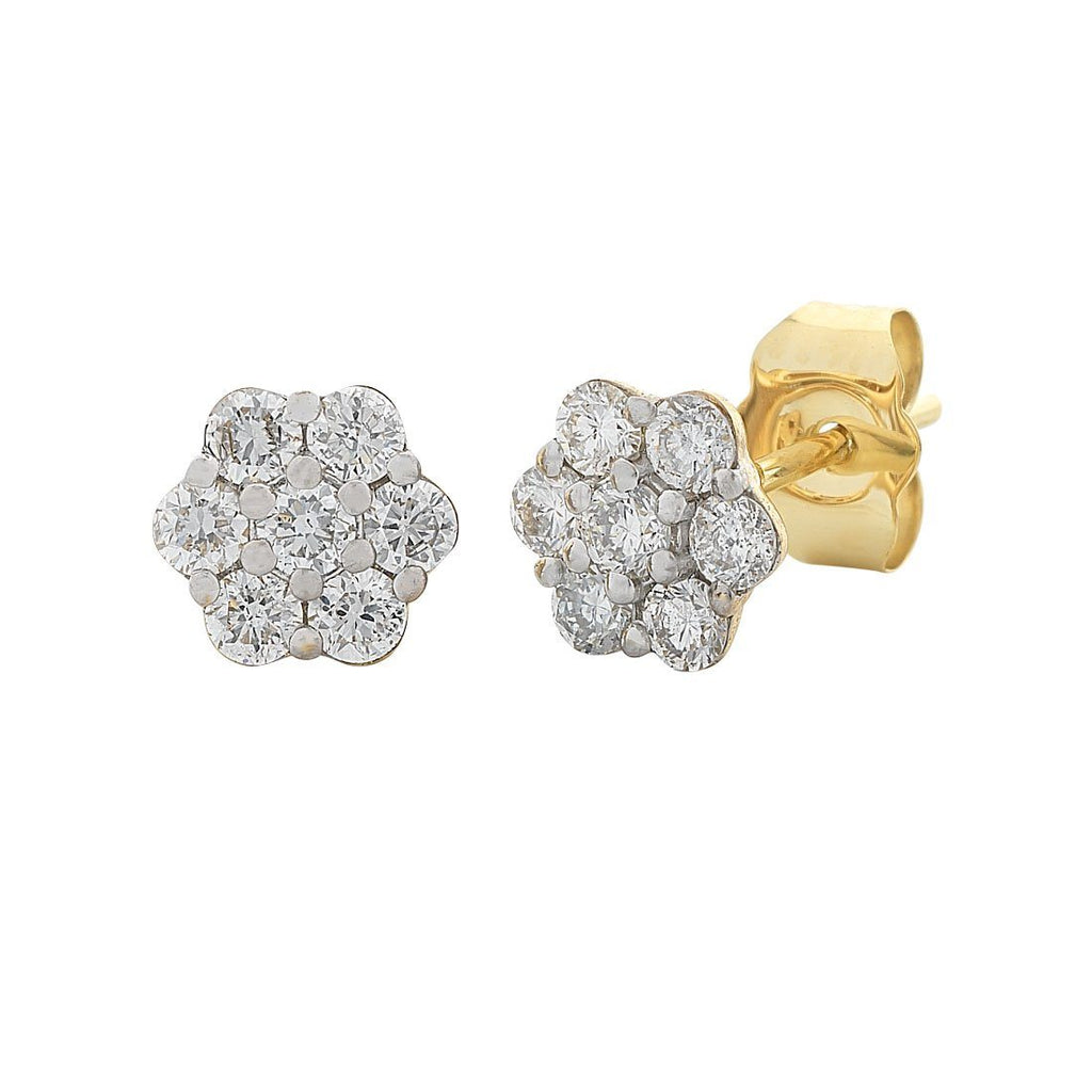 Meera Flower Earrings with 1/2ct of Laboratory Grown Diamonds in 9ct Yellow Gold Earrings Bevilles