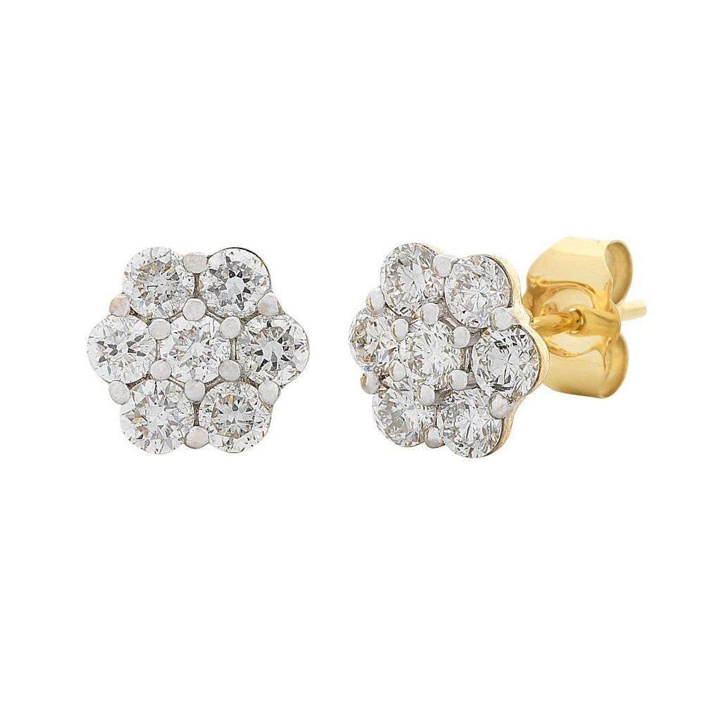 Meera Flower Earrings with 1.00ct of Laboratory Grown Diamonds in 9ct Yellow Gold Earrings Bevilles