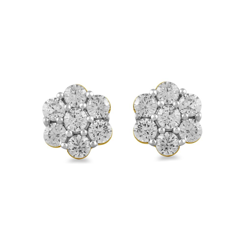 Meera Flower Earrings with 1.50ct of Laboratory Grown Diamonds in 9ct Yellow Gold Earrings Bevilles
