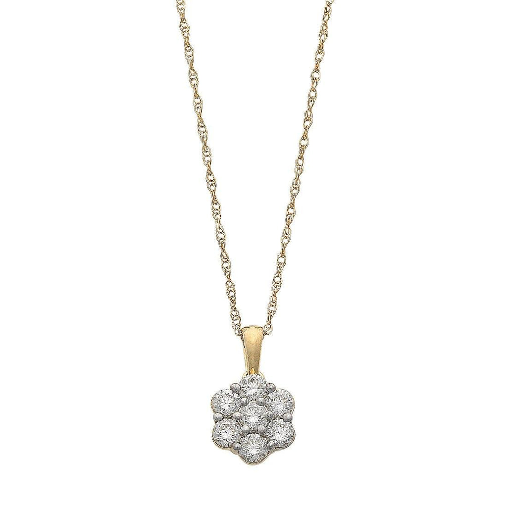 Meera Flower Necklace with 1/2ct of Laboratory Grown Diamonds in 9ct Yellow Gold Necklaces Bevilles
