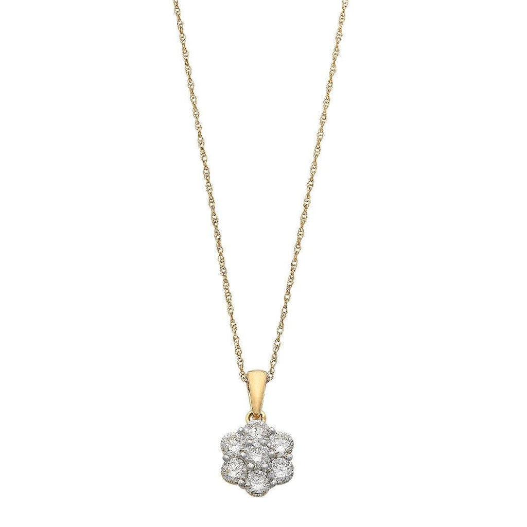 Meera Flower Necklace with 1.00ct of Laboratory Grown Diamonds in 9ct Yellow Gold Necklaces Bevilles