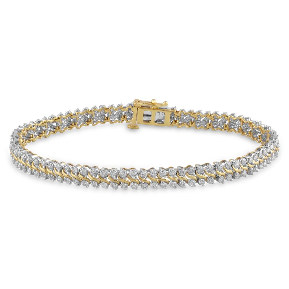 Meera Swirl Bracelet with 3.00ct of Laboratory Grown Diamonds in 9ct Yellow Gold Bracelets Bevilles